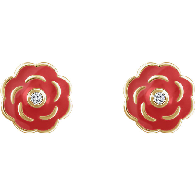10K Yellow .01 CTW Diamond Enamel Flower Earrings