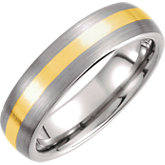 Tungsten & 14K Yellow Dome Band