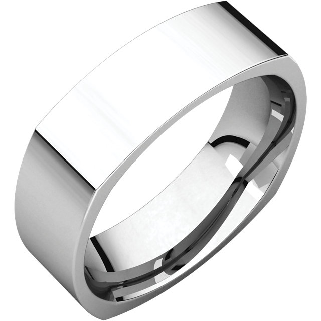 14K White 6 mm Square Comfort-Fit Band
