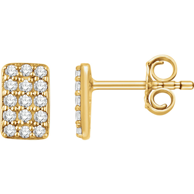 14K Yellow 1/5 CTW Diamond Cluster Earrings