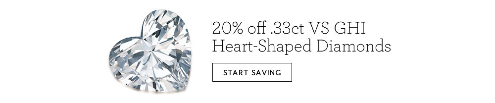 20% off .33ct VS GHI Heart-Shaped Diamonds