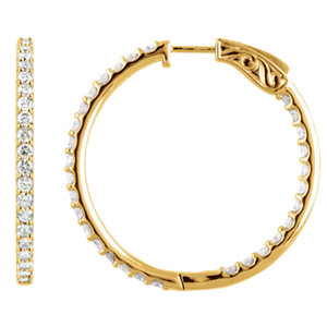 14K Yellow 5 CTW Diamond Inside/Outside Hoop Earrings