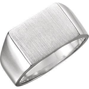 Fashion Rings , Palladium 15x11mm Men's Rectangle Signet Ring
