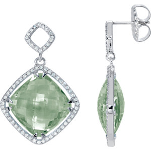 Earrings , Sterling Silver Green Quartz & 5/8 CTW Diamond Earrings