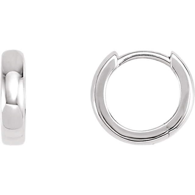 14K White 11.5 mm Hinged Hoop Earrings