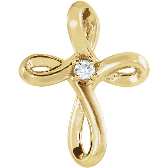 14K Yellow .02 CTW Diamond Cross Pendant