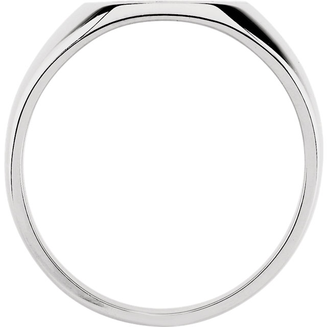 Sterling Silver 18x16mm Men-s Signet Ring with Brush Finish