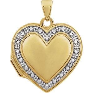14K Yellow & White Heart Locket