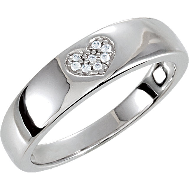Sterling Silver Cubic Zirconia Heart Ring Size 8