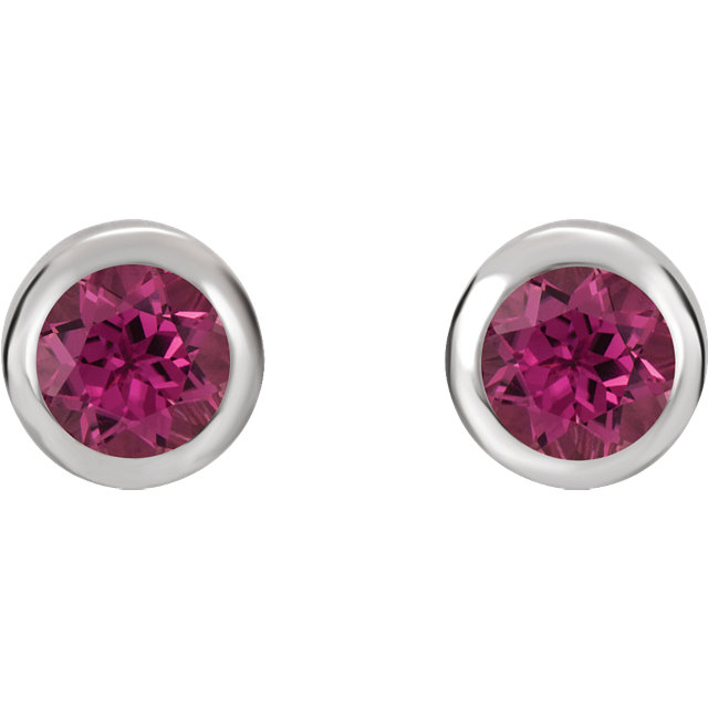 Sterling Silver 4 mm Round Imitation Pink Tourmaline Birthstone Earrings