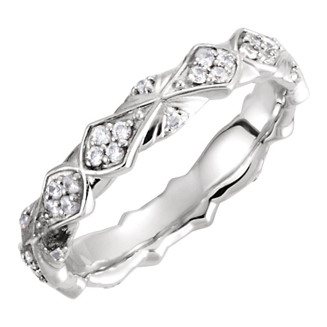 14K White 1/3 CTW Diamond Sculptural-Inspired Eternity Band Size 7