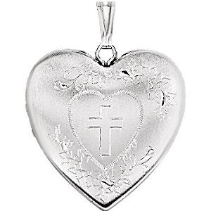 Heart Locket  with Cross
