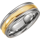 Stainless Steel & Karat Gold Inlay Band
