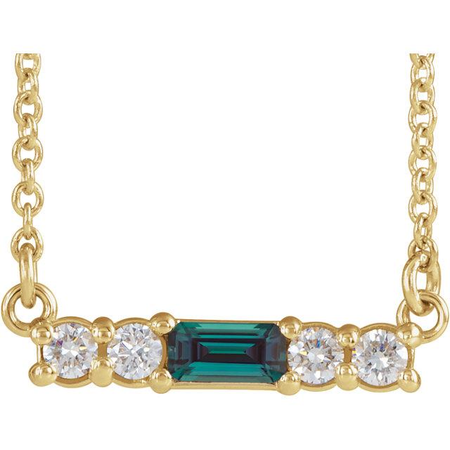 14K Yellow Chatham® Created Alexandrite & 1/5 CTW Diamond 16