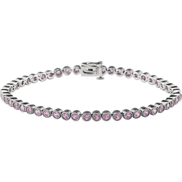 14K White Pink Sapphire 7.25
