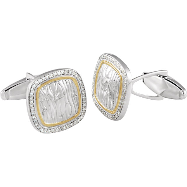 Sterling Silver & 14K Yellow 1/2 CTW Diamond Elephant Print Cuff Links