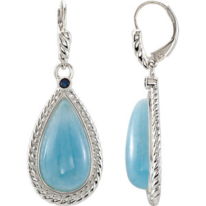 Sterling Silver Milky Aquamarine & Blue Sapphire Earrings