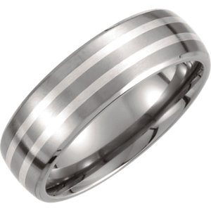 Titanium & Sterling Silver Inlay 7mm Satin Finish Band Size 7