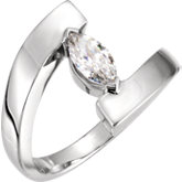 V-End Solitaire Engagement Ring