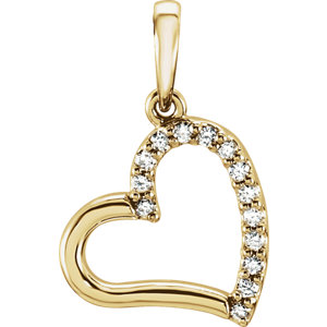 14K Yellow .07 CTW Diamond Heart Pendant