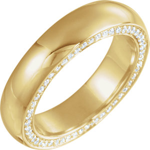 14K Yellow 4 mm 1/2 CTW Diamond Accented Band Size 7