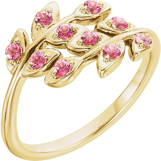 14k Yellow Baby Pink Topaz Leaf Design Ring