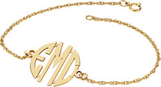 14K Yellow 20 mm 3-Letter Block Monogram Bracelet