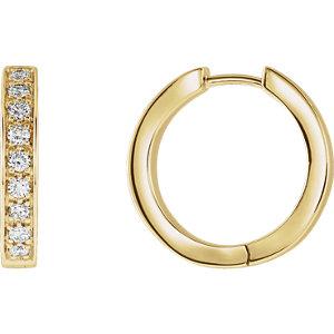 14K Yellow 3/4 CTW Diamond Inside/Outside Hoop Earrings