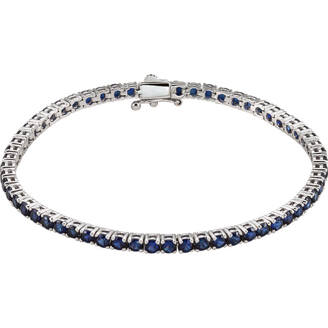 14K White Lab-Grown Blue Sapphire Line 7.25
