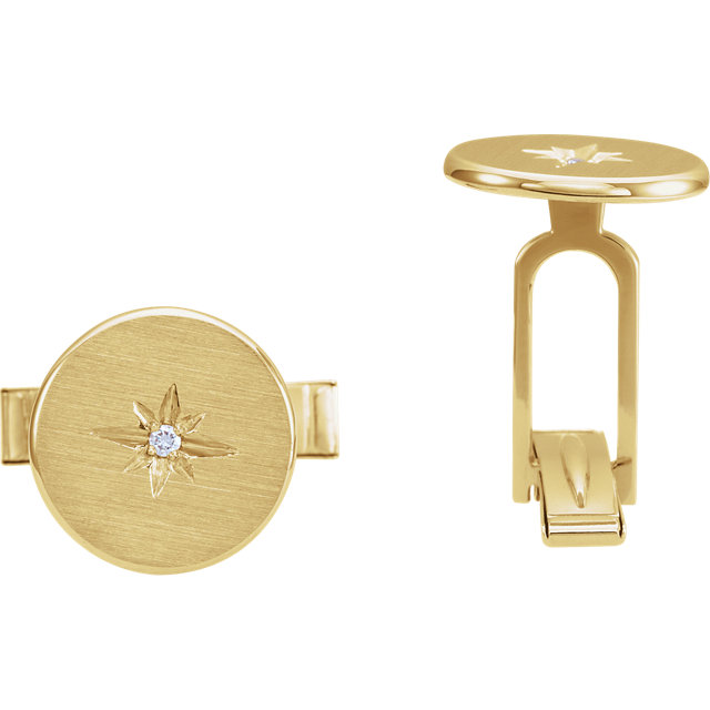 14K Yellow .03 CTW Diamond Starburst Men-s Cuff Links
