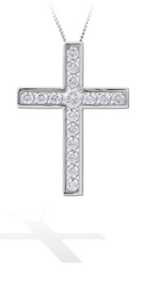 Channel Set Diamond Cross Pendant