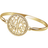28 mm 3-Letter Script Monogram Bangle Bracelet with Border