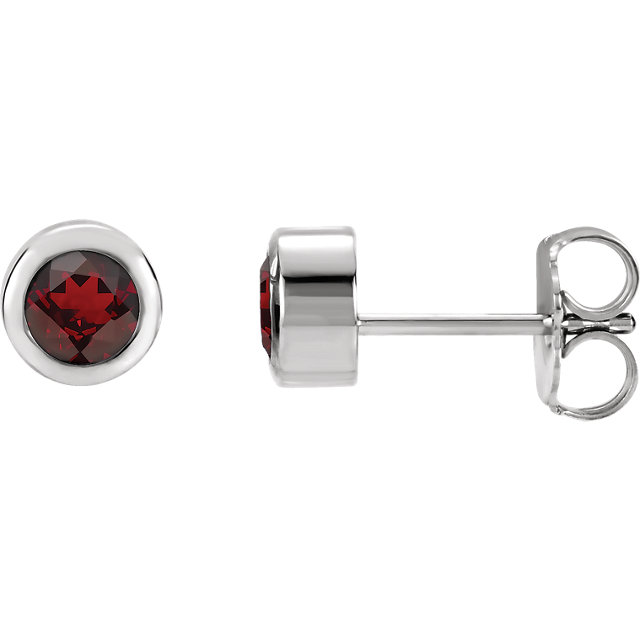 Sterling Silver 4 mm Round Imitation Mozambique Garnet Birthstone Earrings