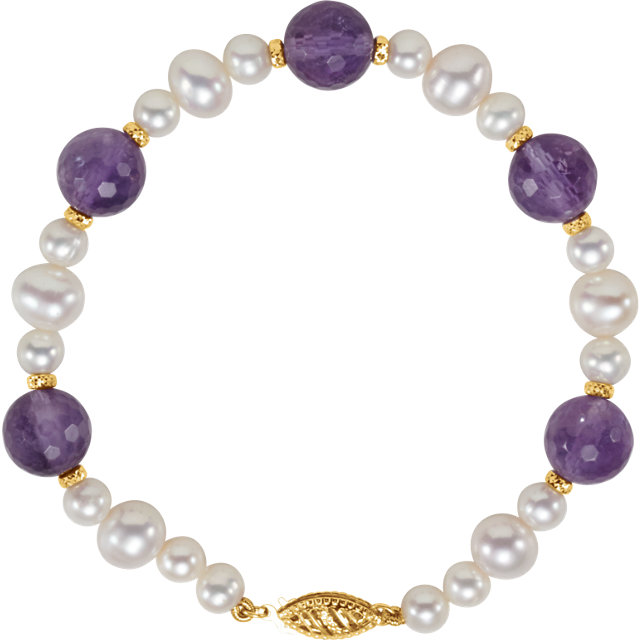 14K Yellow Freshwater Cultured Pearl & Amethyst 7.5