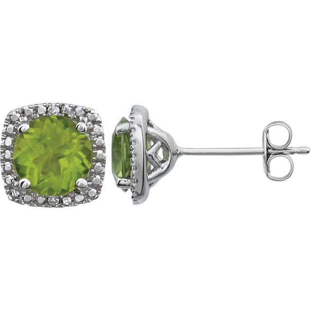Sterling Silver Peridot & .015 CTW Diamond Earrings