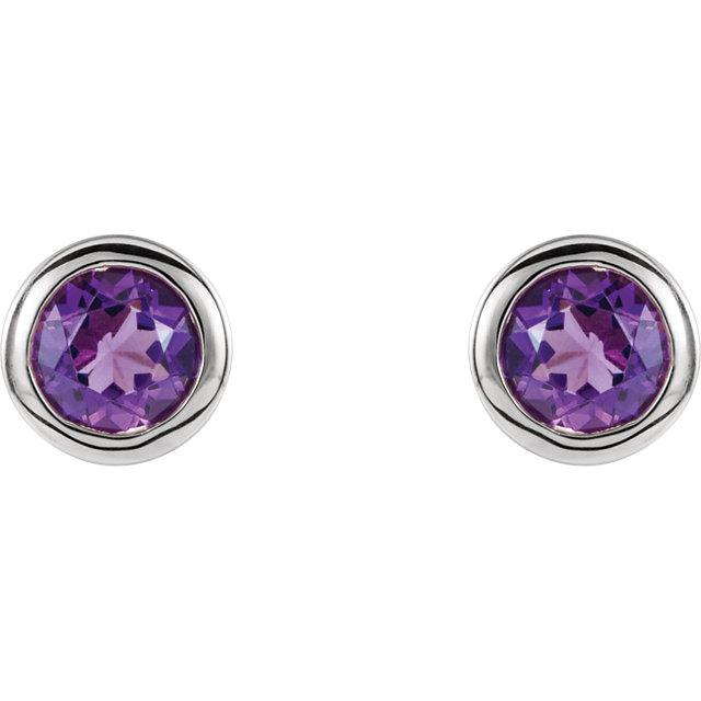 Sterling Silver 4 mm Round Imitation Amethyst Birthstone Earrings