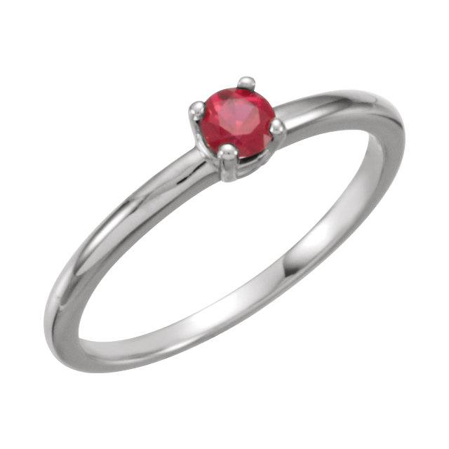Sterling Silver Imitation Ruby