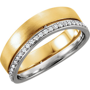 14K Yellow & White 6.5mm 3/8 CTW Diamond Band Size 11