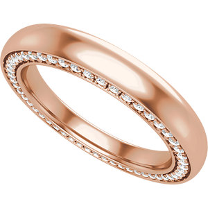 14K Rose 3 mm 1/2 CTW Diamond Accented Band Size 7