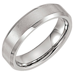 Tungsten 6mm Satin & Polished Beveled Band Size 7