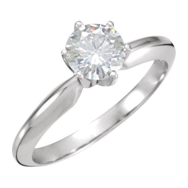 14K White 6mm Round Forever Classic™ Moissanite Engagement Ring