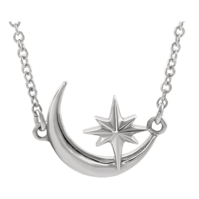 Sterling Silver Crescent Moon & Star 16-18