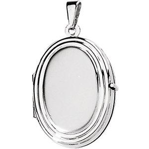 14K White Oval Shaped Locket