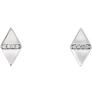 14K White .025 CTW Diamond Geometric Earrings