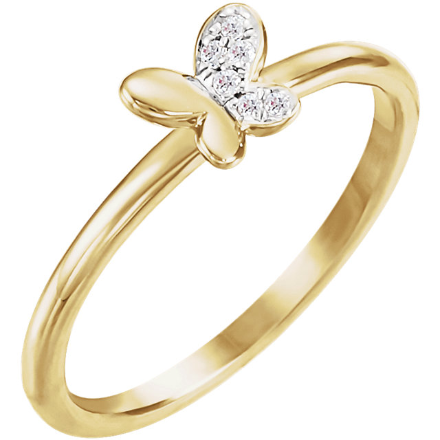 14K Yellow .02 CTW Diamond Butterfly Youth Ring