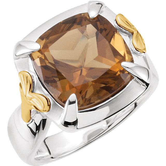 Sterling Silver & 14K Yellow Honey Quartz Ring