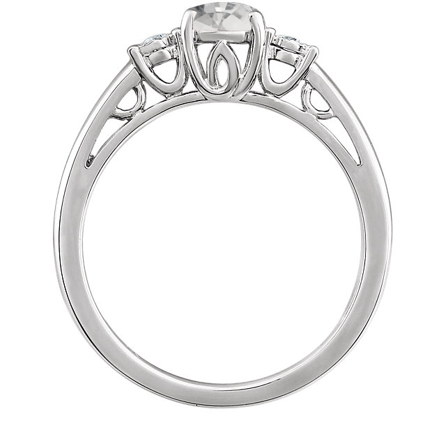 14K White Created White Sapphire and .04CTW Diamond Ring