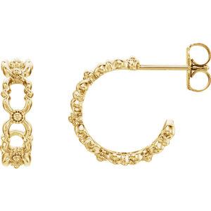 Earrings , 14K Yellow Quatrefoil Hoop Earrings