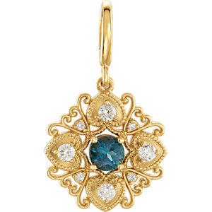 Charm / Pendant, 14K Yellow London Blue Topaz & Diamond Vintage-Style Charm