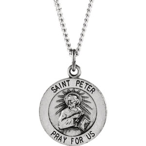 Sterling silver 22mm round st peter 24 necklace stuller sterling silver 22mm round st peter 24 necklace aloadofball Images